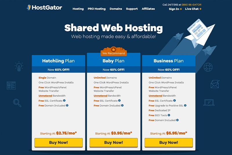 SiteGround vs HostGator: HostGator Pricing